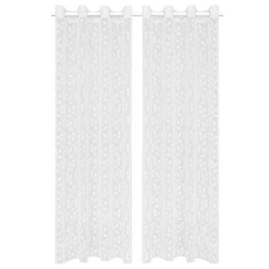 vidaXL Perdele transparente brodate, 2 buc., 140 x 225 cm, frunze, alb[1/4]