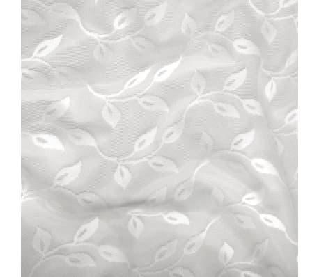 vidaXL Perdele transparente brodate, 2 buc., 140 x 225 cm, frunze, alb[3/4]