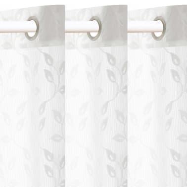 vidaXL Perdele transparente brodate, 2 buc., 140 x 225 cm, frunze, alb[2/4]