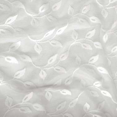 vidaXL Perdele transparente brodate, 2 buc., 140 x 225 cm, frunze, alb[4/4]