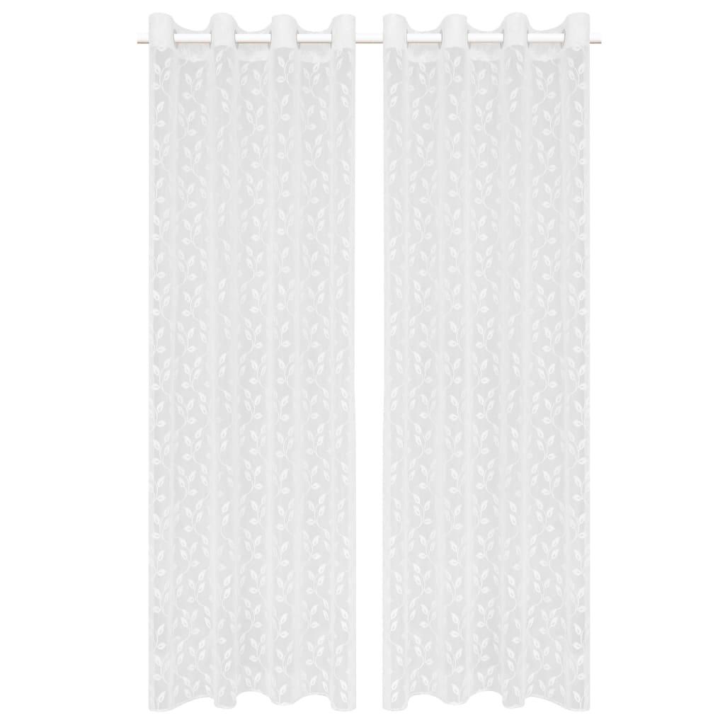 vidaXL Glasgordijnen warp-gebreid 140x245 cm bladeren wit 2 st