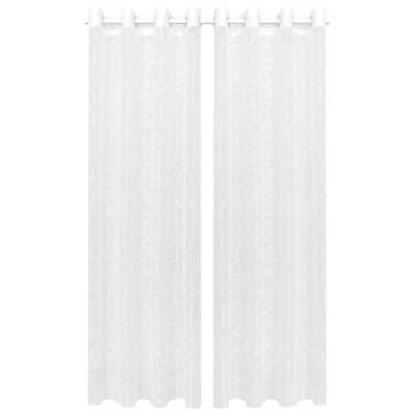 vidaXL Perdele transparente brodate, 2 buc, 140 x 225 cm, ramuri, alb[1/4]