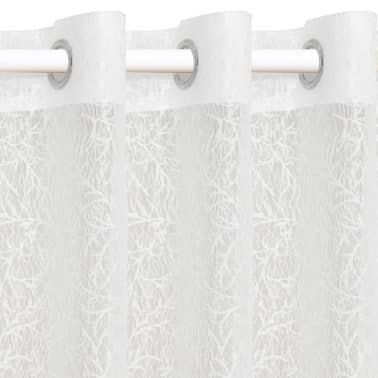 vidaXL Perdele transparente brodate, 2 buc, 140 x 225 cm, ramuri, alb[2/4]