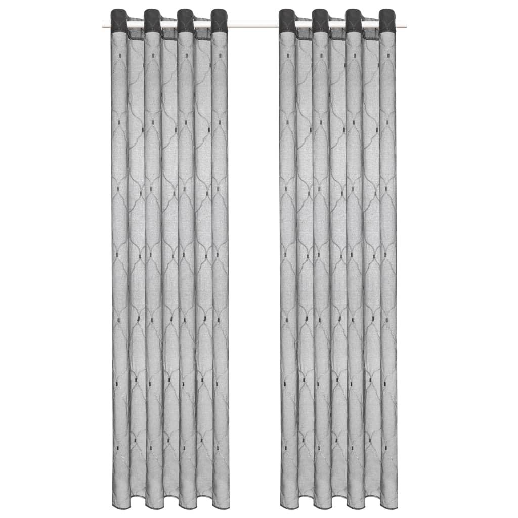 vidaXL Glasgordijnen geborduurd 140x225 cm grijs 2 st