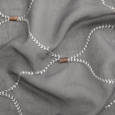 vidaXL Perdele transparente cu broderie, 2 buc., 140 x 245 cm, gri[3/4]