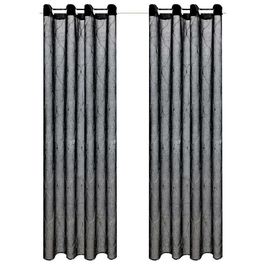 vidaXL Glasgordijnen geborduurd 140x175 cm zwart 2 st