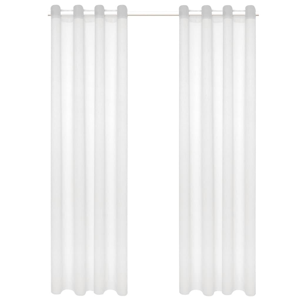 vidaXL Glasgordijnen linnen-look 140x225 cm wit 2 st