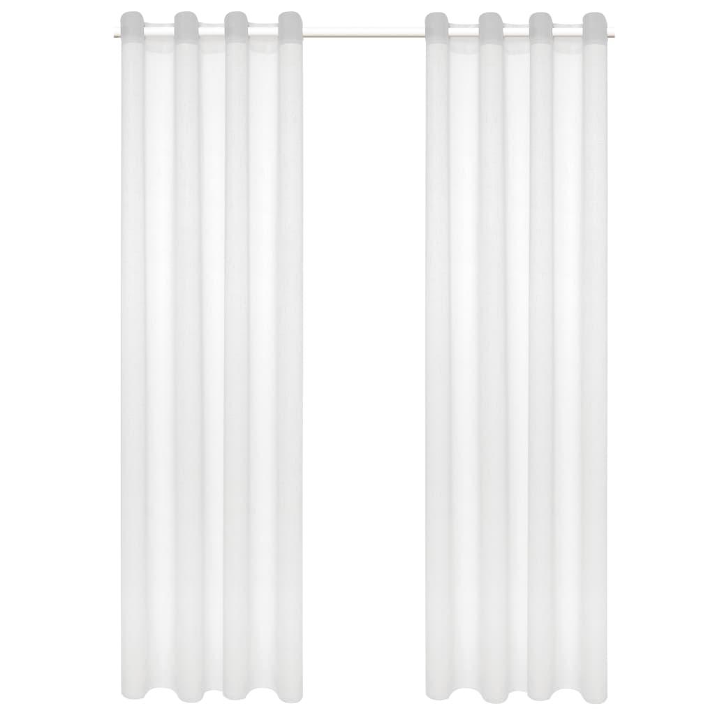 vidaXL Glasgordijnen linnen-look 140x245 cm wit 2 st