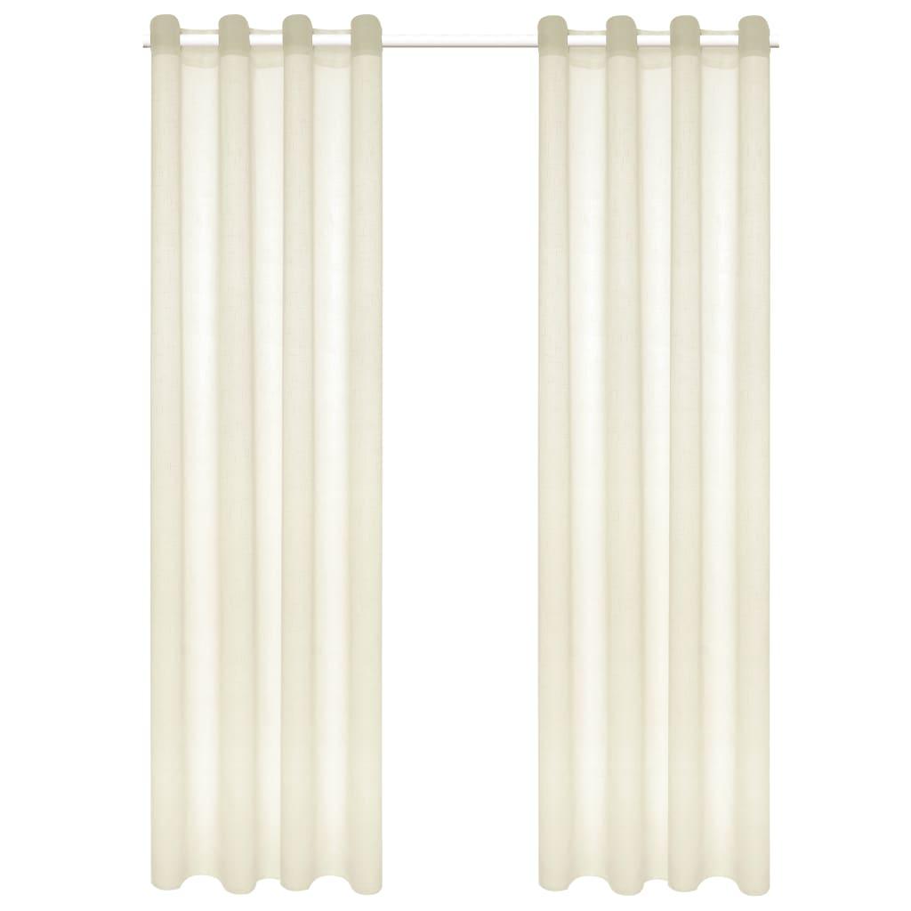 vidaXL Glasgordijnen linnen-look 140x245 cm crème 2 st