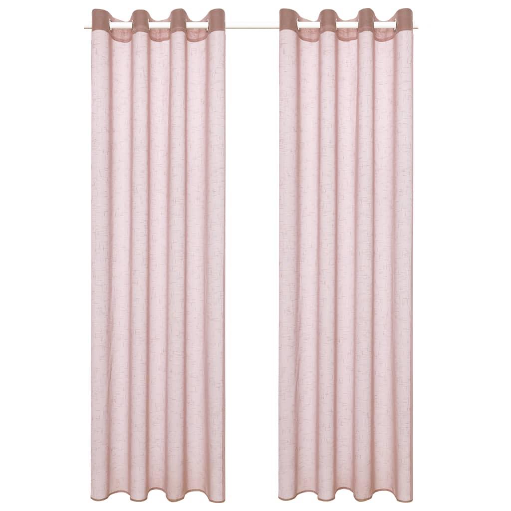 vidaXL Průsvitné závěsy se vzhledem lnu 2 ks 140 x 175 cm růžové