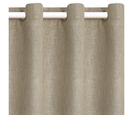 Vidaxl cortinas opacas apariencia de lino 2 piezas beige 140x175 cm - Cortinas lino beige ...