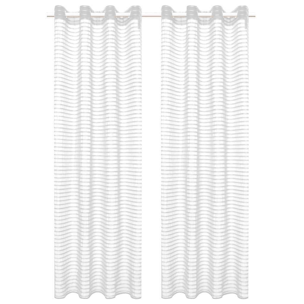 vidaXL Glasgordijnen geweven gestreept 140x175 cm wit 2 st