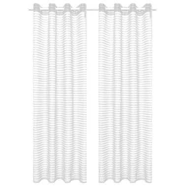 vidaXL Gewebte Gardinen 2 Stk. Gestreift 140 x 175 cm Weiß[1/4]