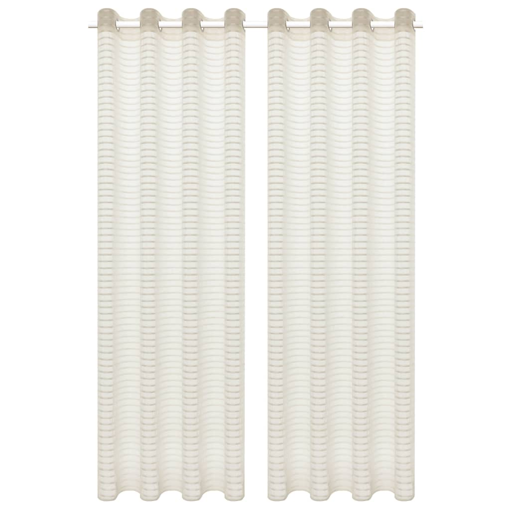 vidaXL Glasgordijnen geweven gestreept 140x175 cm crème 2 st
