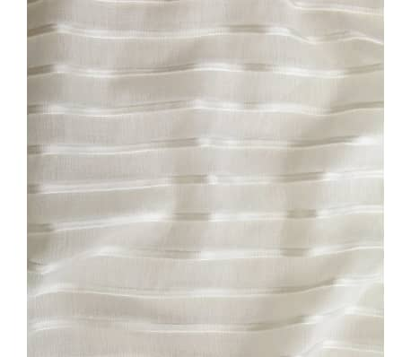 vidaXL Perdele transparente cu dungi, 2 buc, 140 x 175 cm, crem[3/4]