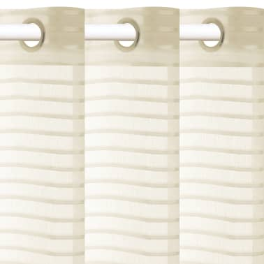 vidaXL Perdele transparente cu dungi, 2 buc, 140 x 175 cm, crem[2/4]