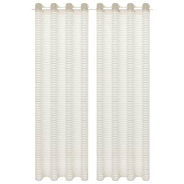 vidaXL tynde gardiner 2 stk. vævet stribet 140 x 245 cm cremefarvet[1/4]
