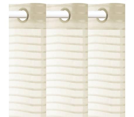 vidaXL Perdele transparente, cu dungi, 2 buc, 140 x 245, crem[2/4]