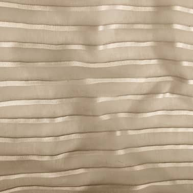 vidaXL Perdele transparente cu dungi, 2 buc, 140 x 245, bej[3/4]