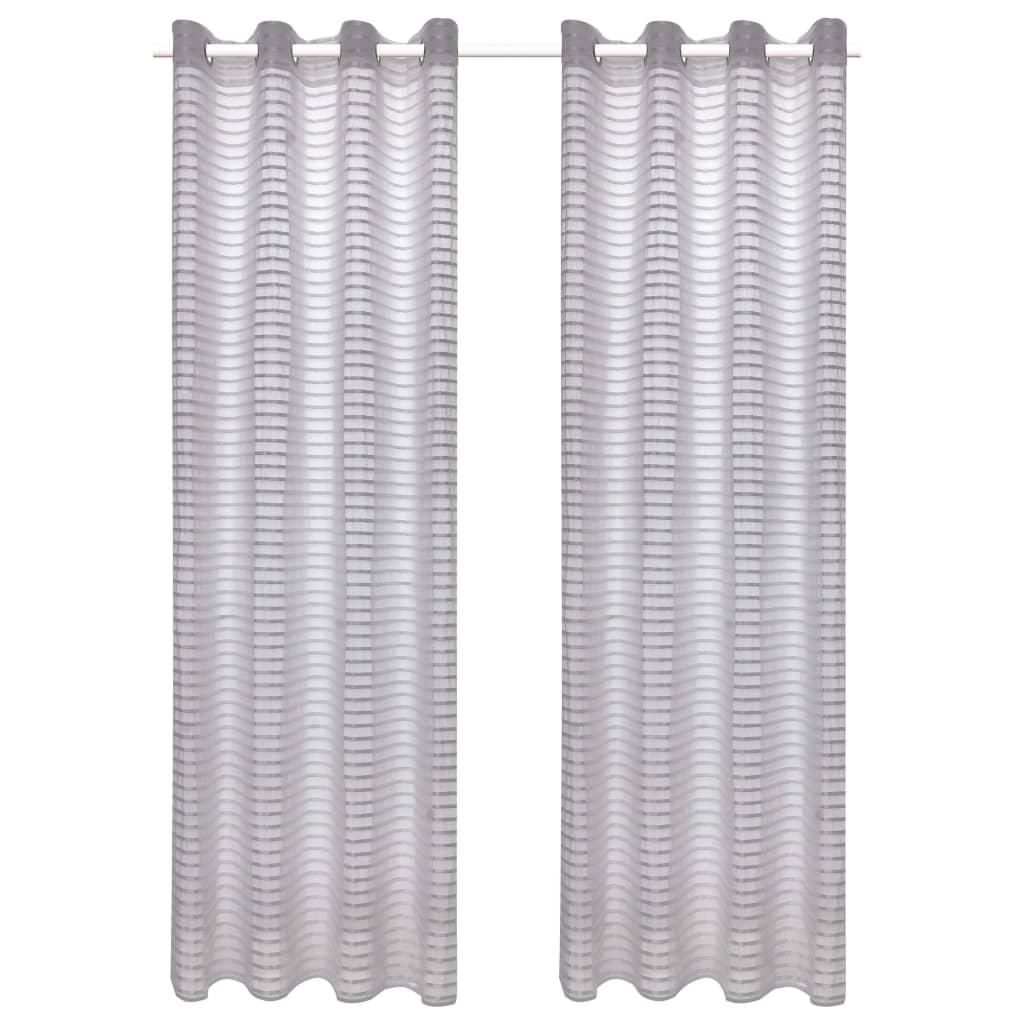 vidaXL Glasgordijnen geweven gestreept 140x225 cm grijs 2 st