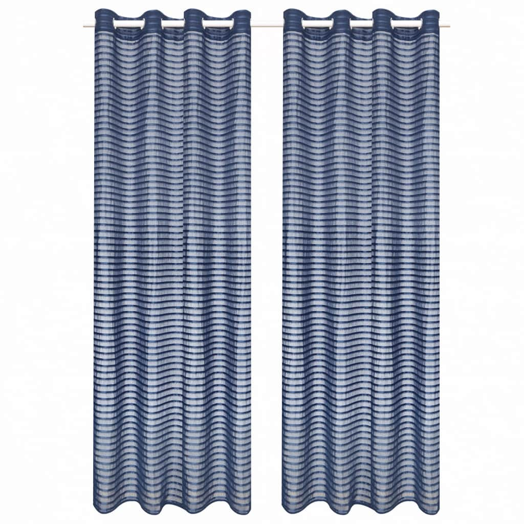 vidaXL Tkané pruhované průsvitné závěsy 2 ks 140 x 175 cm modré