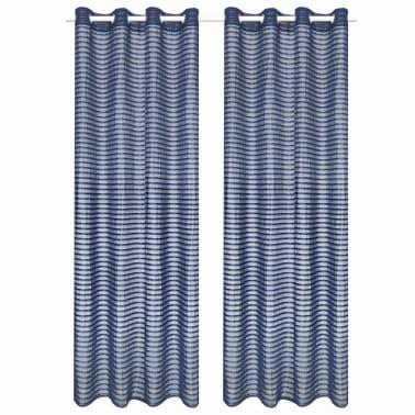 vidaXL Perdele transparente, cu dungi, 2 buc. 140 x 225 cm albastru[1/4]