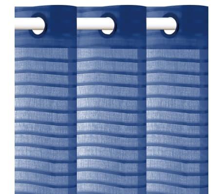 vidaXL Perdele transparente, cu dungi, 2 buc. 140 x 225 cm albastru[2/4]