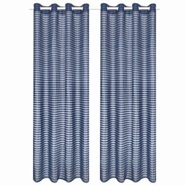 vidaXL Perdele transparente cu dungi, 2 buc, 140 x 245 cm, albastru[1/4]