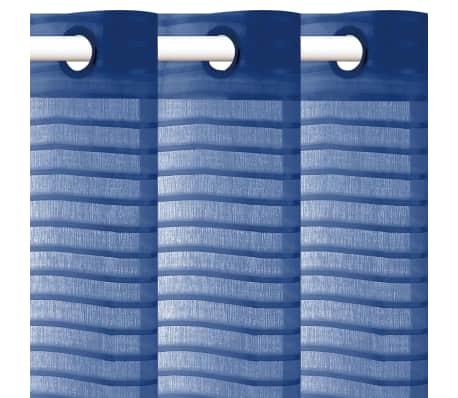 vidaXL Perdele transparente cu dungi, 2 buc, 140 x 245 cm, albastru[2/4]