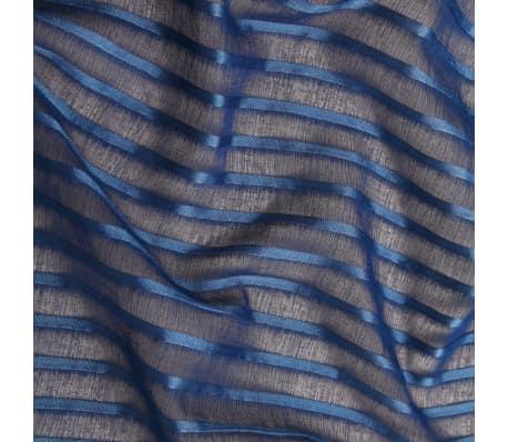 vidaXL Perdele transparente cu dungi, 2 buc, 140 x 245 cm, albastru[3/4]