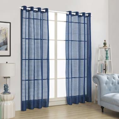 vidaXL Perdele transparente cu dungi, 2 buc, 140 x 245 cm, albastru[4/4]