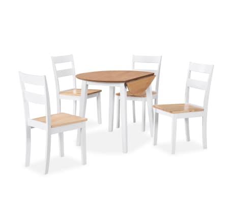 vidaXL Ensemble de salle à manger 5 pcs MDF et hévéa Blanc