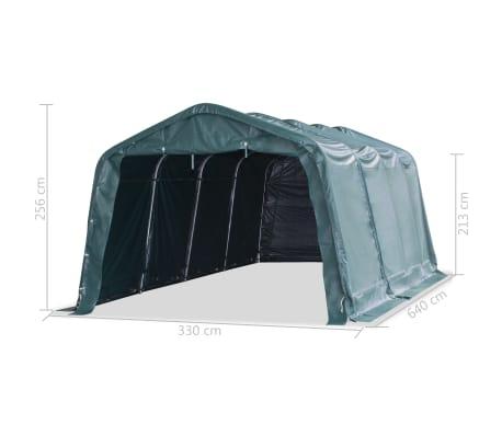 vidaXL eemaldatav loomatelk, PVC 550 g/m², 3,3 x 6,4 m, tumeroheline[9/10]