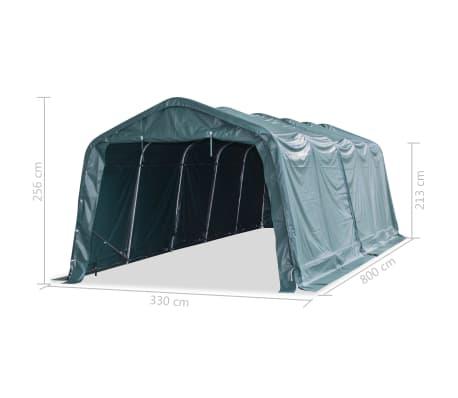 vidaXL Premični šotor za živino PVC 550 g/m² 3,3x8 m temno zelen[9/10]