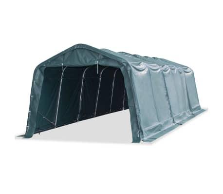 vidaXL Premični šotor za živino PVC 550 g/m² 3,3x9,6 m temno zelen-picture
