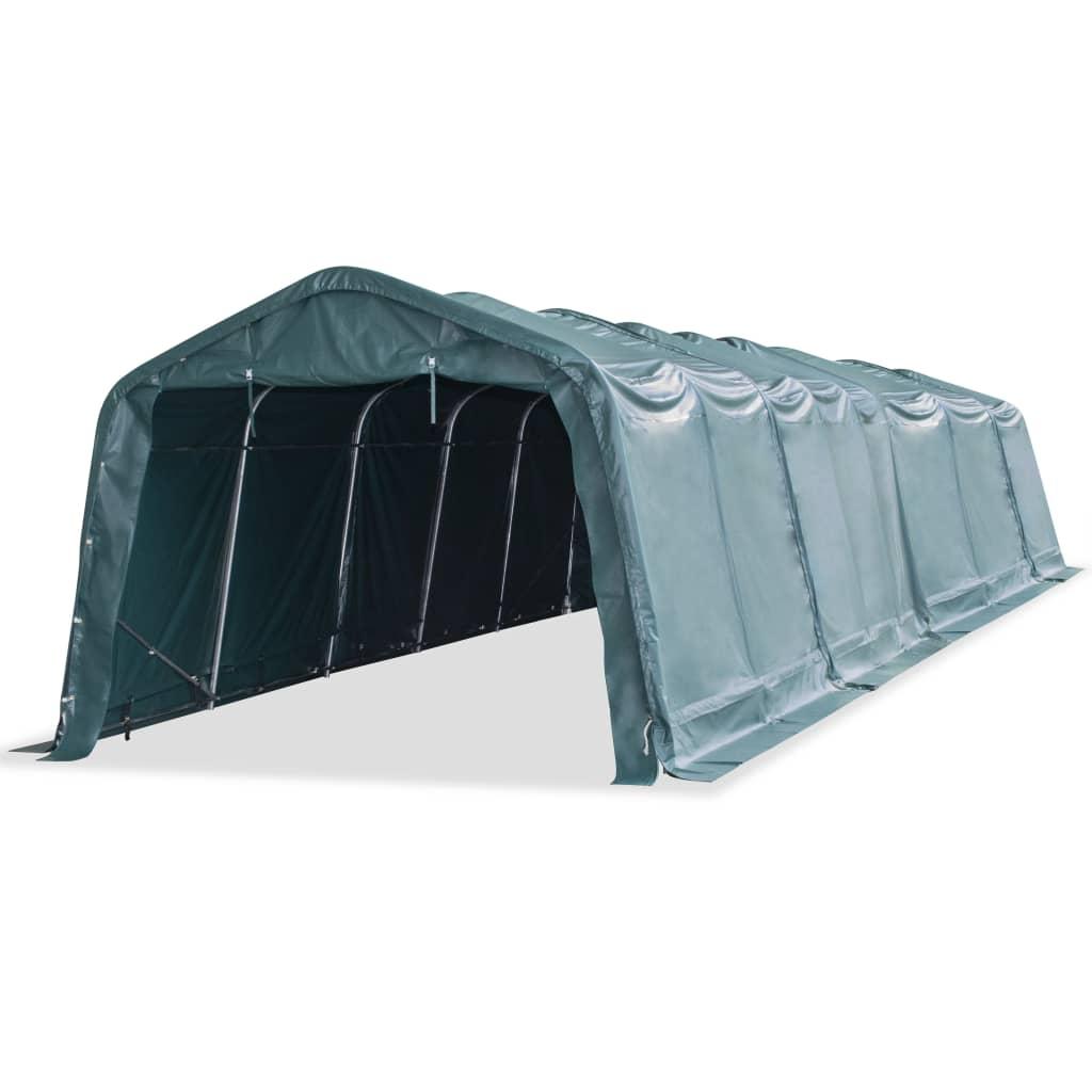 vidaXL Mobilní přístřešek pro zvířata  PVC 550 g/m² 3,3x12,8 m zelený