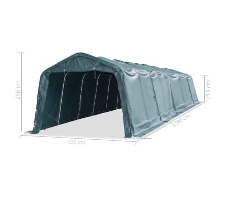 vidaXL Nuimama palapinė gyvuliams, PVC, 550g/m², 3,3x12,8m, t. žalia[8/9]
