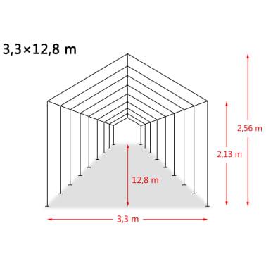 vidaXL Nuimama palapinė gyvuliams, PVC, 550g/m², 3,3x12,8m, t. žalia[9/9]