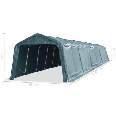 vidaXL eemaldatav loomatelk, PVC 550 g/m², 3,3 x 16 m, tumeroheline[8/9]
