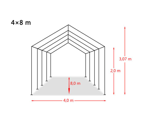 vidaXL Tente de rangement PVC 550 g/m² 4 x 8 m Blanc[6/6]