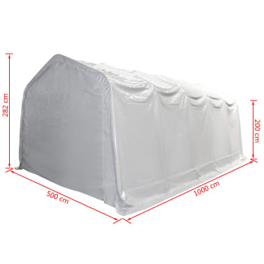 vidaXL Tente de rangement PVC 5 x 10 m Blanc[5/6]