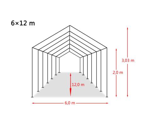 vidaXL Šotor za shranjevanje PVC 550 g/m² 6x12 m bel[6/6]
