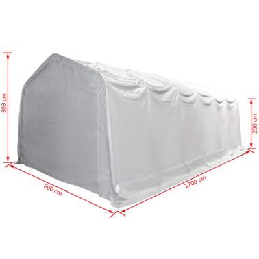 vidaXL Šotor za shranjevanje PVC 550 g/m² 6x12 m bel[5/6]