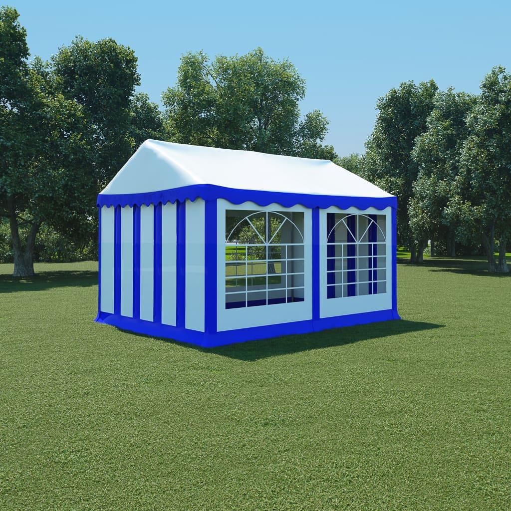 vidaXL Pavilion de grădină, albastru și alb, 3 x 4 m, PVC imagine vidaxl.ro