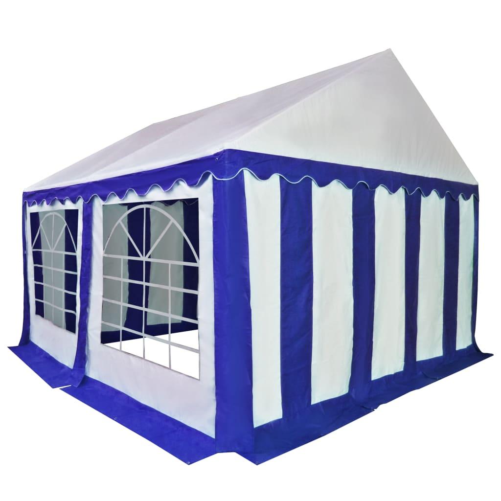 vidaXL Tuinpaviljoen 4x4 m PVC blauw en wit