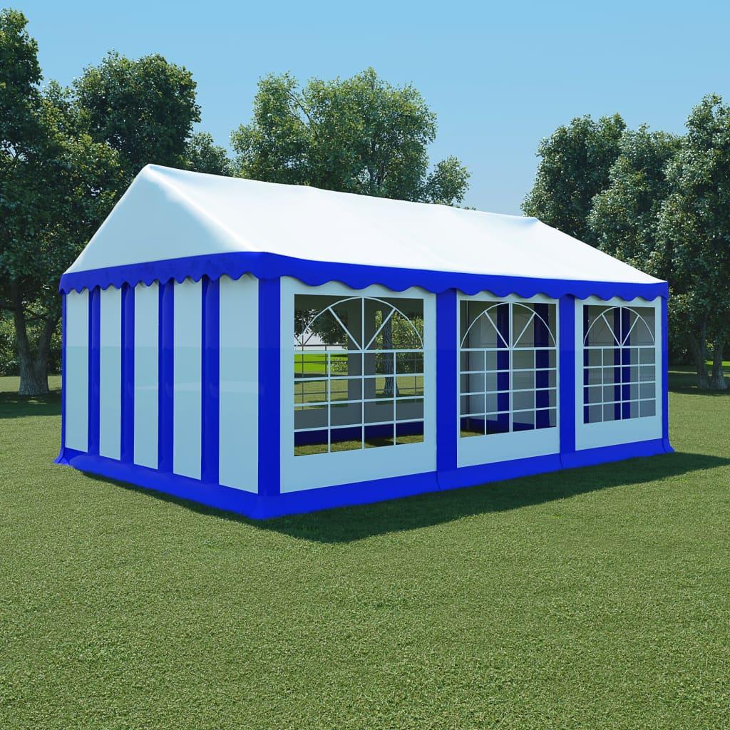 vidaXL Pavilion de grădină, albastru și alb, 4 x 6 m, PVC poza vidaxl.ro