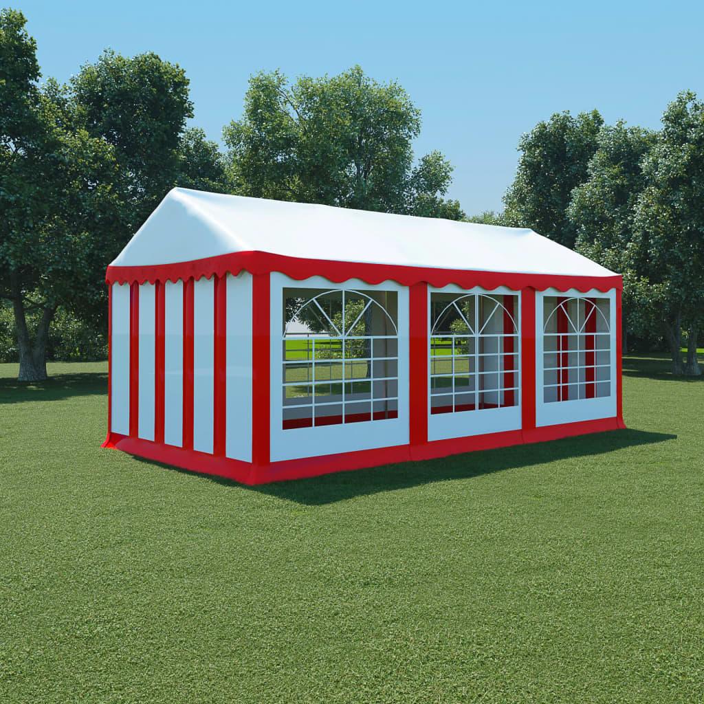 vidaXL Hagetelt PVC 3x6 m rød og hvit