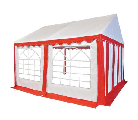 vidaXL Tuinpaviljoen 4x4 m PVC rood en wit