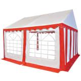 vidaXL Záhradný stan z PVC, 4x4 m, červeno- biely