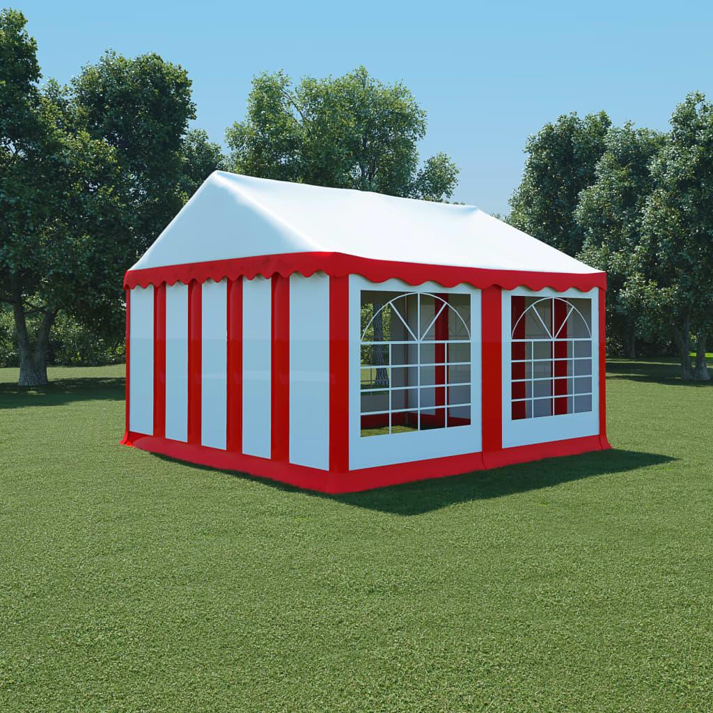 vidaXL Pavilion de grădină, roșu și alb, 4 x 4 m, PVC poza vidaxl.ro
